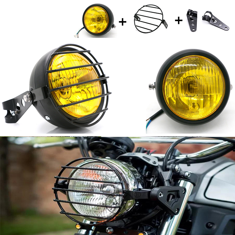 """Black Yellow 6.5/"""" Halogen Headlights w// X-type Net For Cafe Racer Motorcycle New"""