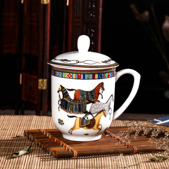 High bone China oriental horse office teacup with cover Jingdezhen ...