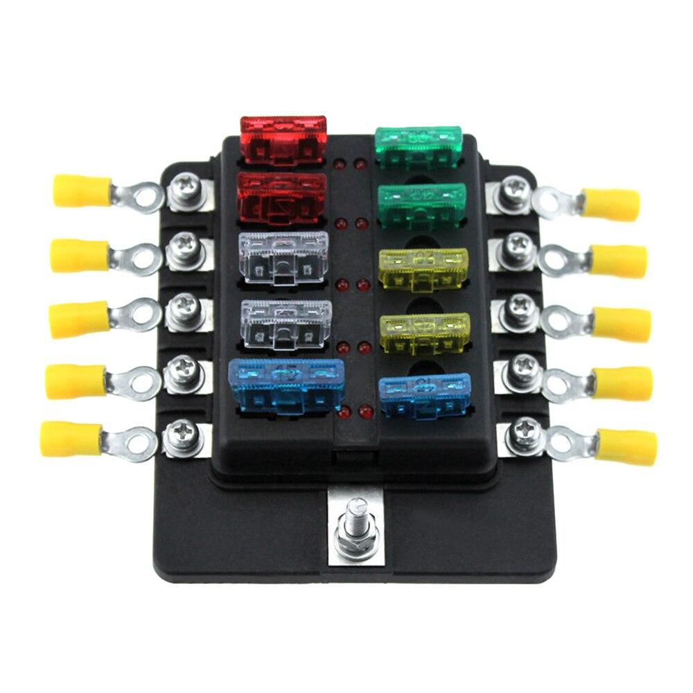 10 Way Lame Box Porte-Fusible Fusible Blocs LED Indicateur 10 Pcs fusibles 10 Pcs Bornes pour Voiture Bateau Marine Caravane Camion 12 V 24 V