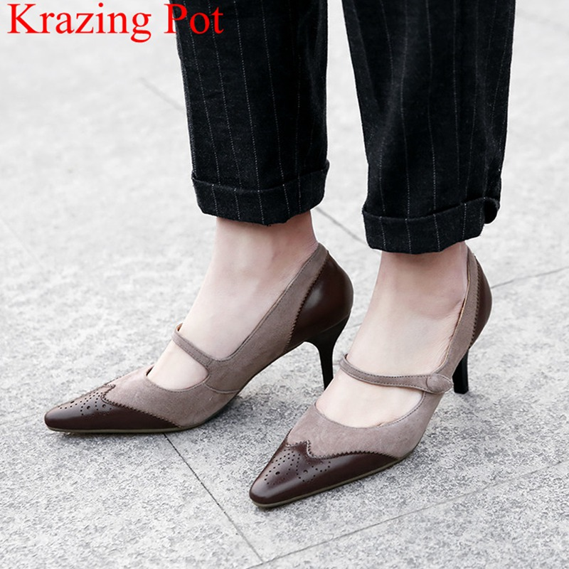 2018 superstar slip on high heels genuine leather shallow women pumps elegant mary janes casual office lady wedding shoes L01