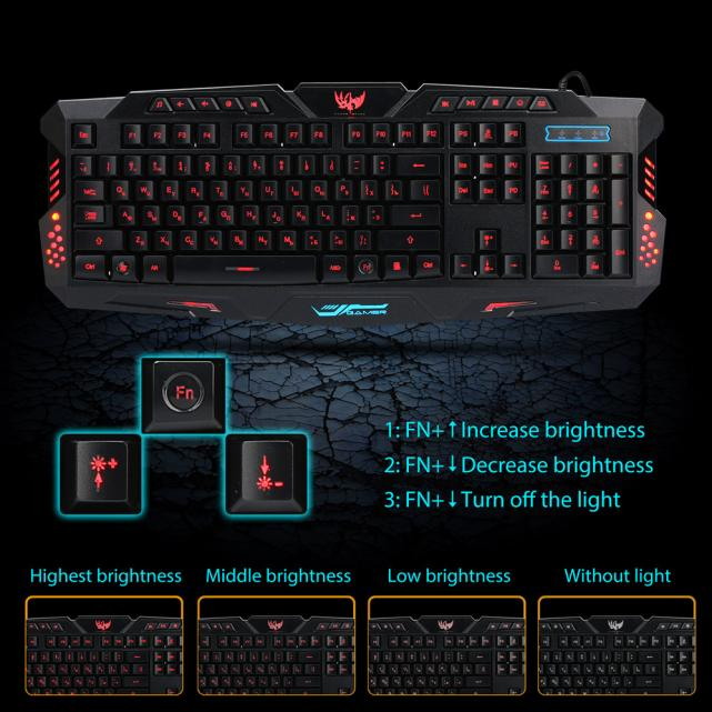 Image 2 - 3 Colors Crack Illuminated LED Backlight USB Wired Multimedia PC Gaming Keyboard-in Keyboards from Computer & Office