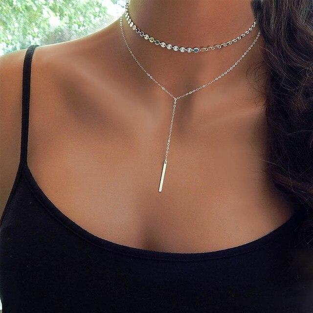 Nouveau Simple Femmes bar coin argent Or Chaîne Choker Collier tour de cou  Bijoux collana Bijoux a5622a421d3
