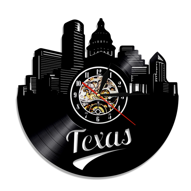 1Piece Vintage United Texas State States America Travel Art Wall Vinyl Clock Skyline Home Decor Creative