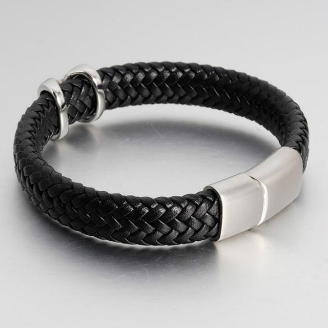 Leather Bracelet Stainless...