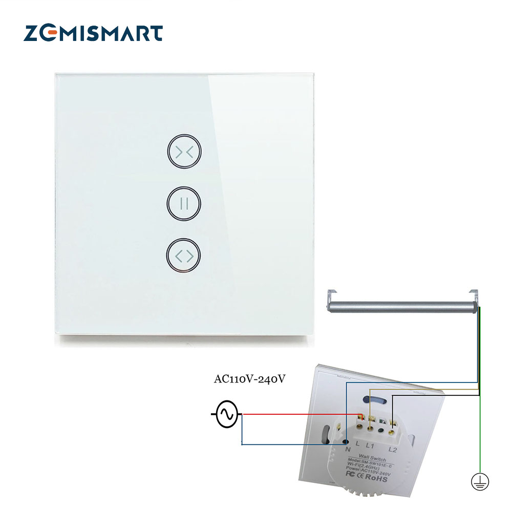 EU Curtain Switch Wall Switches For Standard Roller Motor with 4 Wires Work with Google Home Alexa Support Wifi APP Control