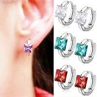 Women's Huggie Earrings Square Cubic Zirconia Silver Plated Eardrop AQLN