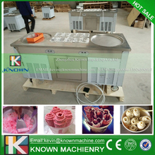 Big size double round flat pans ice roll machine / fried ice cream roll machine
