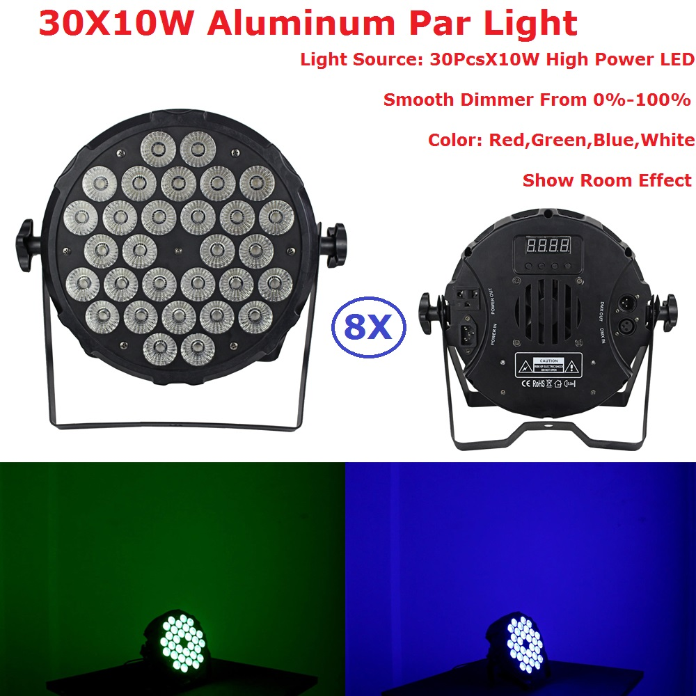 8Pcs/Lot Hot Sales 30PcsX10W RGBW 4IN1 Aluminum Par Light DMX Stage Lights Professional Flat Par Can For Party KTV Disco DJ Lamp 8pcs lot 18x12w rgbw 4in1 led par light dmx stage lights business lights professional flat par can for party ktv disco lamp