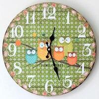35cm Wooden Clock Vintage Owl Pattern Round Wall Clock Ornaments Handmade Wall Hanging Clocks Living Room Decor Housekeeper Gift