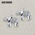 JAKONGO Античная Посеребренная Подвеска в виде слона для ювелирных изделий, аксессуары для изготовления браслетов, сделай сам 23x28 мм 10 шт./лот