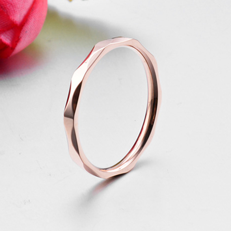 Small Ring for Women and Men Silver/Rose Gold Color Stainless Steel Wedding Ring 2mm Width Exquisite Ring 3
