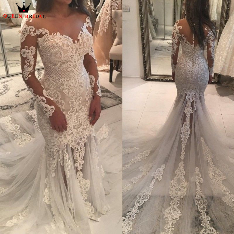 Mermaid Long Sleeve Tulle Lace Pearls Wedding Dresses Sexy Vintage 2018 New Bridal Wedding Gowns Custom Made QUEEN BRIDAL ST02