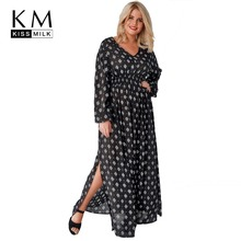 Kissmilk Plus Size Geometric Print Side Slit Lantern Sleeve Maxi Dress V Neck Black High Waist Women Dress Large Size Dress stylish round neck short sleeve slit plus size dress for women