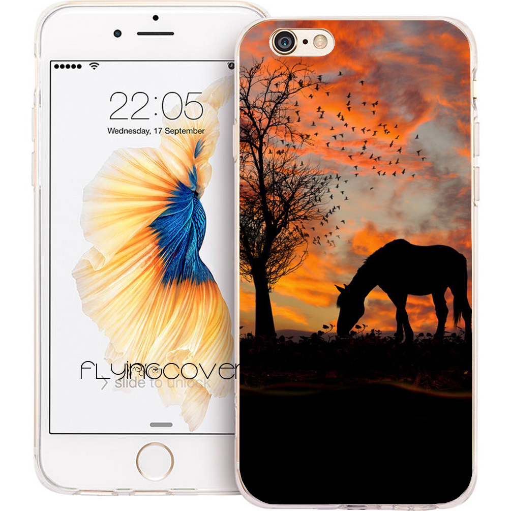 Coque Sunset Horse Tree Capa Soft TPU Silicone Phone Cover for iPhone X 7 8 Plus 5S 5 SE 6 6S Plus 5C 4S 4 iPod Touch 6 5 Cases