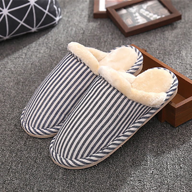 2017 Plush Warm Winter Home Slippers Non-Slipper Striped Sewing Indoor Shoes Comfortable Soft Wear-Resisting Women Slippers купить