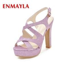 ENMAYLA 2018 New Fashion summer lady sequined cloth cross tie buckle strap high heel sandals women platform heels ZYL371