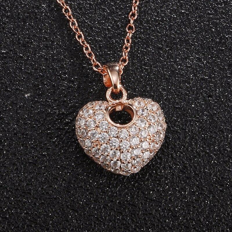 493a117a938c UILZ de corazón de moda colgante de cristal de Zircon de oro rosa collar de  joyas de Zirconia lindo estilo para mujer regalo de Navidad UN2021
