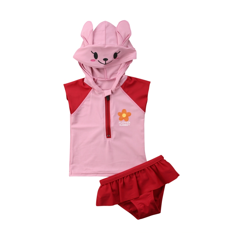 Cute Kid Baby Girls Hooded Swimming Costume Bathing Swimsuit Bikini Set Swimwear Baby Sleeveless Patchwork Cute Romper Red