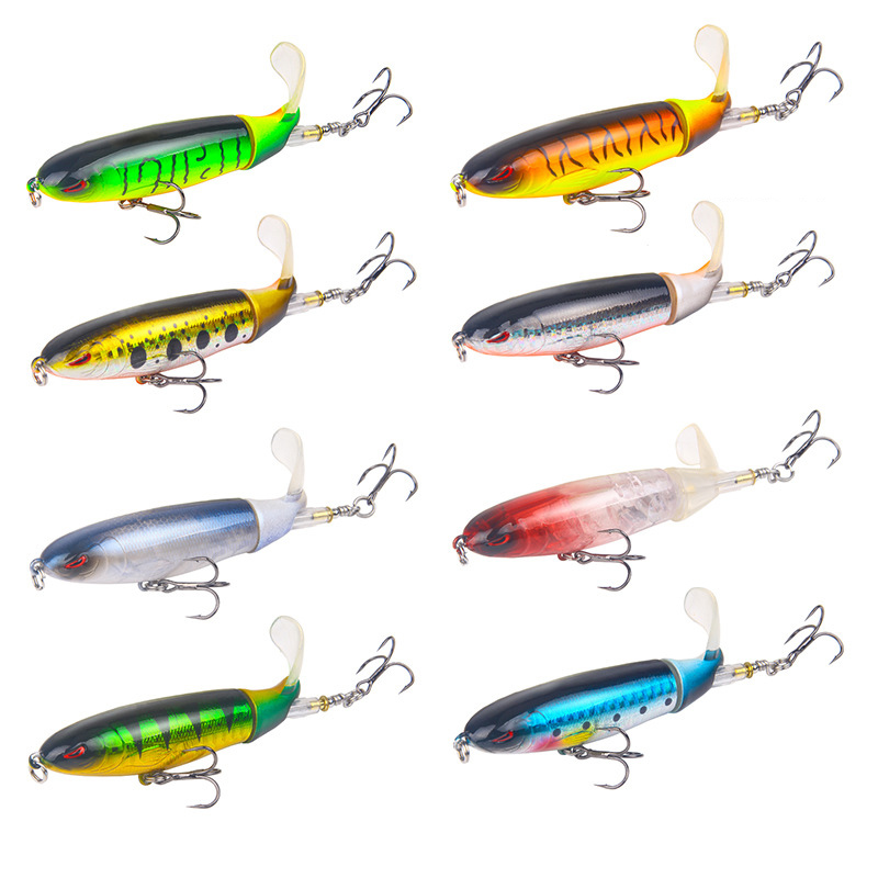 8 color Top Water Lure 13G/10CM Outdoor Artificial Fishing Tail Wobblers Lake Artificial Hard Bait 3D Eyes Jerkbait Crankbait