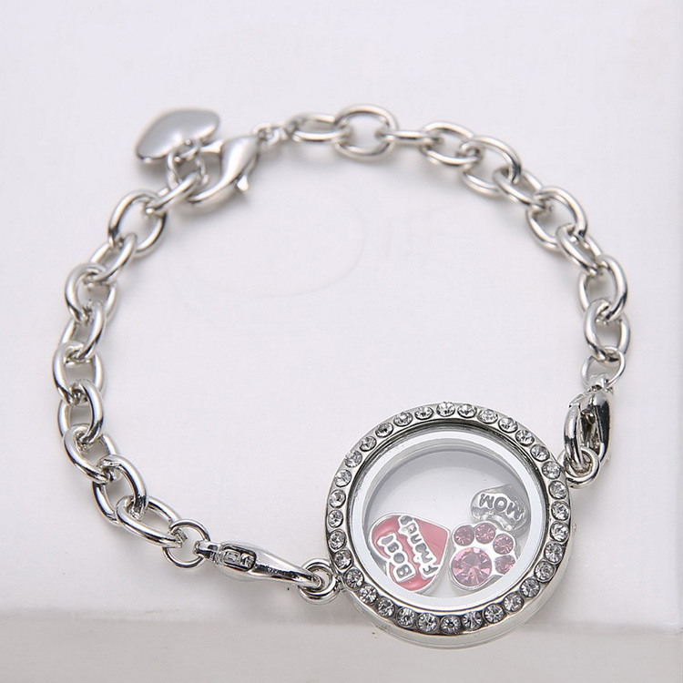 Diy Silver Metal Circle Rahmen Pendant Bracelets Magnetic Crystal Living Memory Locket Bracelet Floating Charms In Chain Link From Jewelry