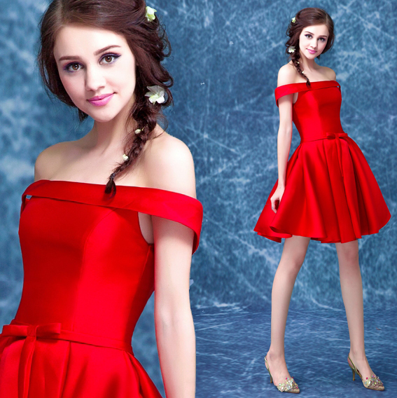 59293b287e Stunning Red Vestido Off-Shoulder Short Mini Girl Young Lady Women s Dress  Bridesmaids Party Prom Ball Gown Lace-up Corset Back