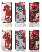 Luxury Crystal Diamond Sicily Daisy Floral Leather Phone Cover Coque For IPhone 6s Case 6 7