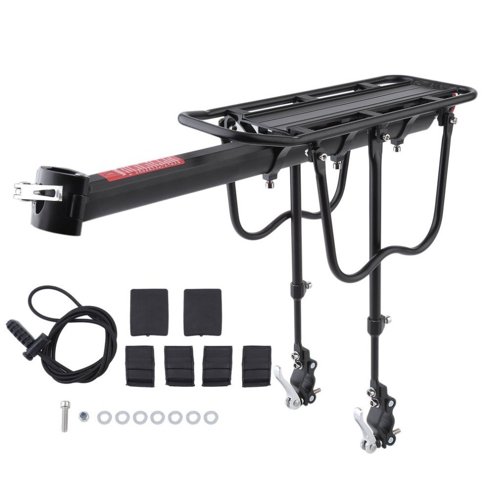 Bicycle Luggage Carrier Cargo 50KG Load Rear Rack Road MTB Shelf Cycling Seatpost Bag Holder Stand For 15-20' Bike +Install Tool rear fender rack tool box luggage holder saddlebag supoort cargo shelf mounting bracket for yamaha xt 225 xt225 serow 1986 2007