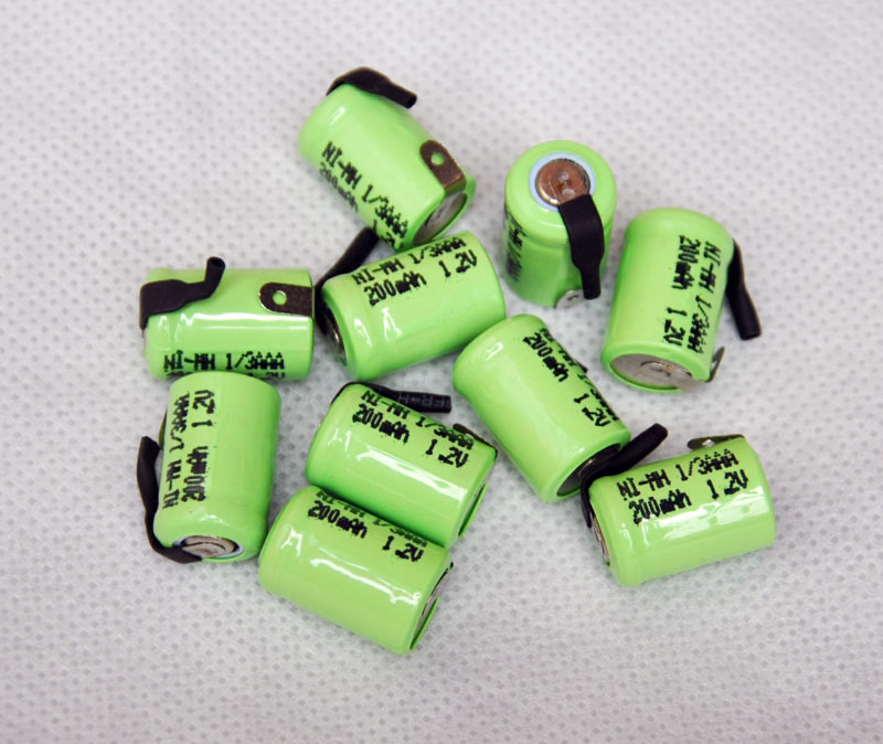 10PCS/lot 1.2V 1/3AAA 200mAh Ni-Mh Nimh 1/3 AAA Rechargeable Battery cell with welding feet leg pins tab flat top ...