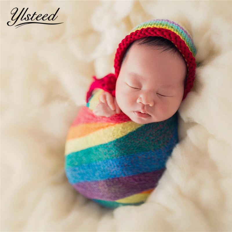 Newborn Photography Props Colorful Stripe Rayon Wraps Stretch Knit Photo Wraps Hammock Swaddling Soft Cotton Nubble Wraps elegant colorful stripe bohemia soft cotton towel