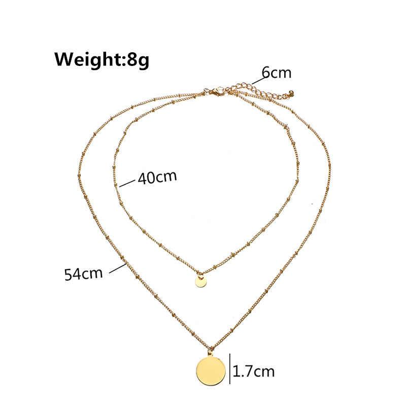 2019 Double Layered Gold Geometric สร้อยคอเลื่อม Double Strand ลูกปัดสร้อยคอ Layering แผ่น Boho สร้อยคอยาวเครื่องประดับชายหาด
