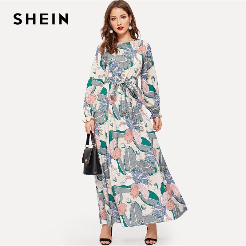 d159baf676 SHEIN Keyhole Back Belted Flower Print Round Neck Multicolor A Line Dress  Abaya Office Lady Women