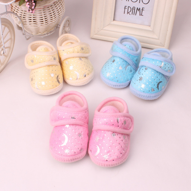 Blue pink Moon printing Lovely Warm Baby Shoes Soft Bottom Non slip Bow Toddler shoes First