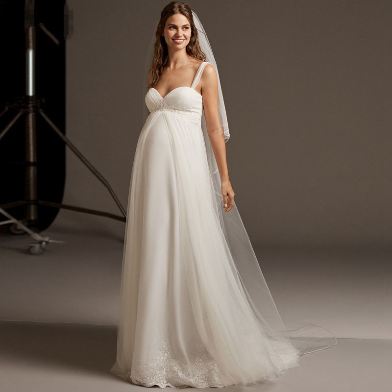 Eightale Maternity Wedding Dresses Spaghetti Strap Sweetheart Pleats Wedding Gown Pregnant Bride Dress Robe Vintage Mariage