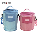 TANGIMP Round Square Oxford Striped Cooler Insulated Lunch Bags for Women Kids Thermal Lunchbox Food Picnic Bag Handbag Tote