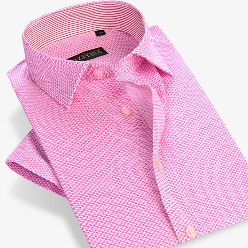 Popular Pink Short Sleeve Dress Shirt Men-Buy Cheap Pink Short ...