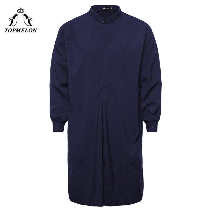 TOPMELON Kaftan Herren Muslim Islamischen kleidung Hombre Arabisch Roben Navy Schwarz Rot Weiß Solide Jubba Thobe für Männer Pakistan Abaya