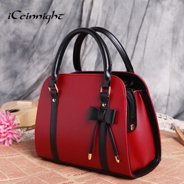 2016 New Popular Fashion bags women pu leather handbags Shoulder Messenger Bags for female bolsas bag ladies red black trunk bow