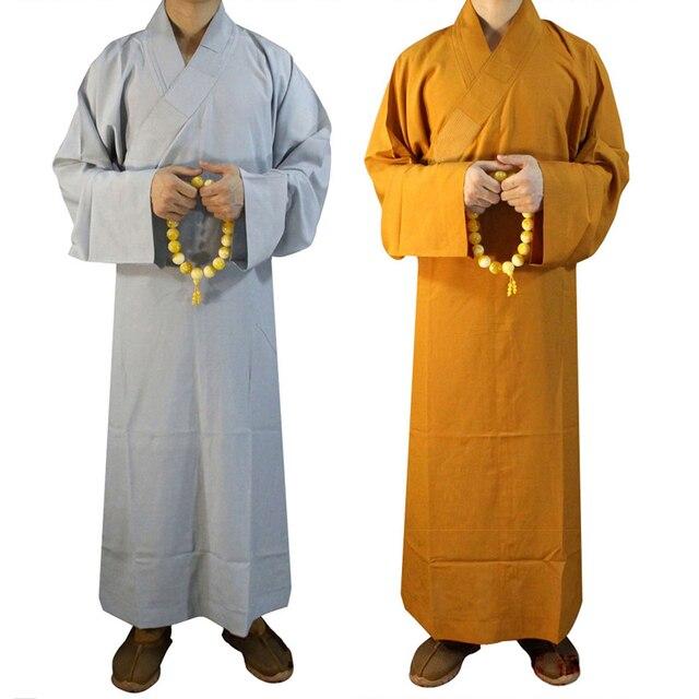 87b4b7554 2 ألوان الراهب رداء الملابس لوهان الملابس البوذية الجلباب معبد شاولين مونك  زي رداء زن الملابس