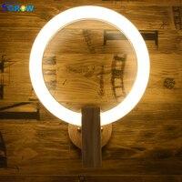 SGROW Nordic акрил кольцо настенный светильник светильники Современный базой из массива дерева Освещение в помещении для Спальня Гостиная Обеде