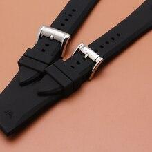 23 мм Ремешки для наручных часов, резиновый силиконовый ремешок для часов, ремешок с серебристой металлической пряжкой, мягкие водонепроницаемые аксессуары для часов, мужские часы