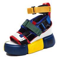 SWYIVY sandalias azules plataforma mujeres 2019 señoras zapatos casuales cuña alto tacón grueso Sandalias Zapatos de verano Zapatos altos tobillo 41