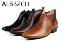 Модные с острым носком из натуральной коровьей кожи ковбойские ботинки мужская обувь повседневные деловые ботильоны челси без шнуровки ра
