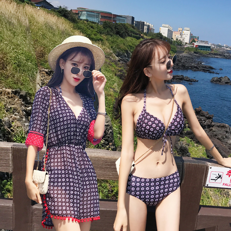 2017 Limited Hot Springs Swimsuit Three Girls Bikini Cover Thin Belly, South Korea Small Fresh And Clean Sexy 2018 direct selling springs swimming clothes bikini three pieces of small breasts the steel sexy shading thin korean swimsuit