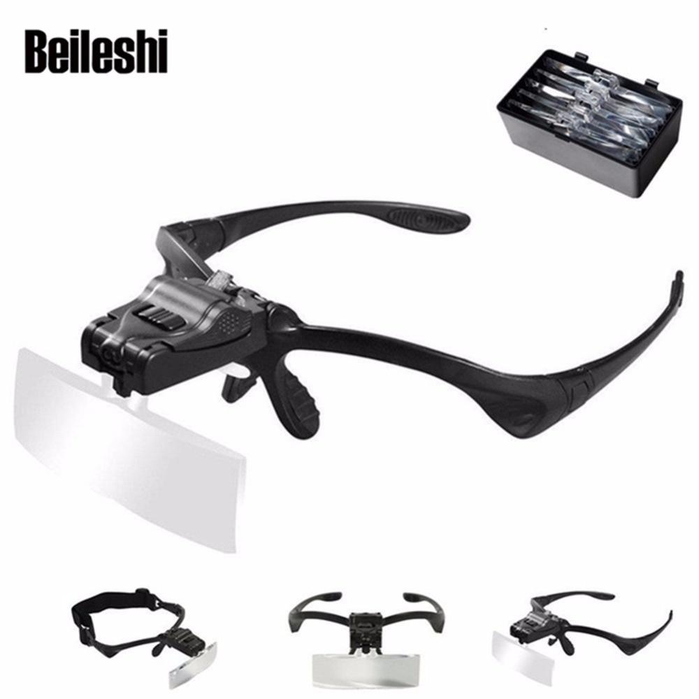 Beileshi Helmet Magnifying Glass Repair Magnifier LED Light Tools 5 Lens/set Magnification Lupa Optical Lenses 9892B For Reading