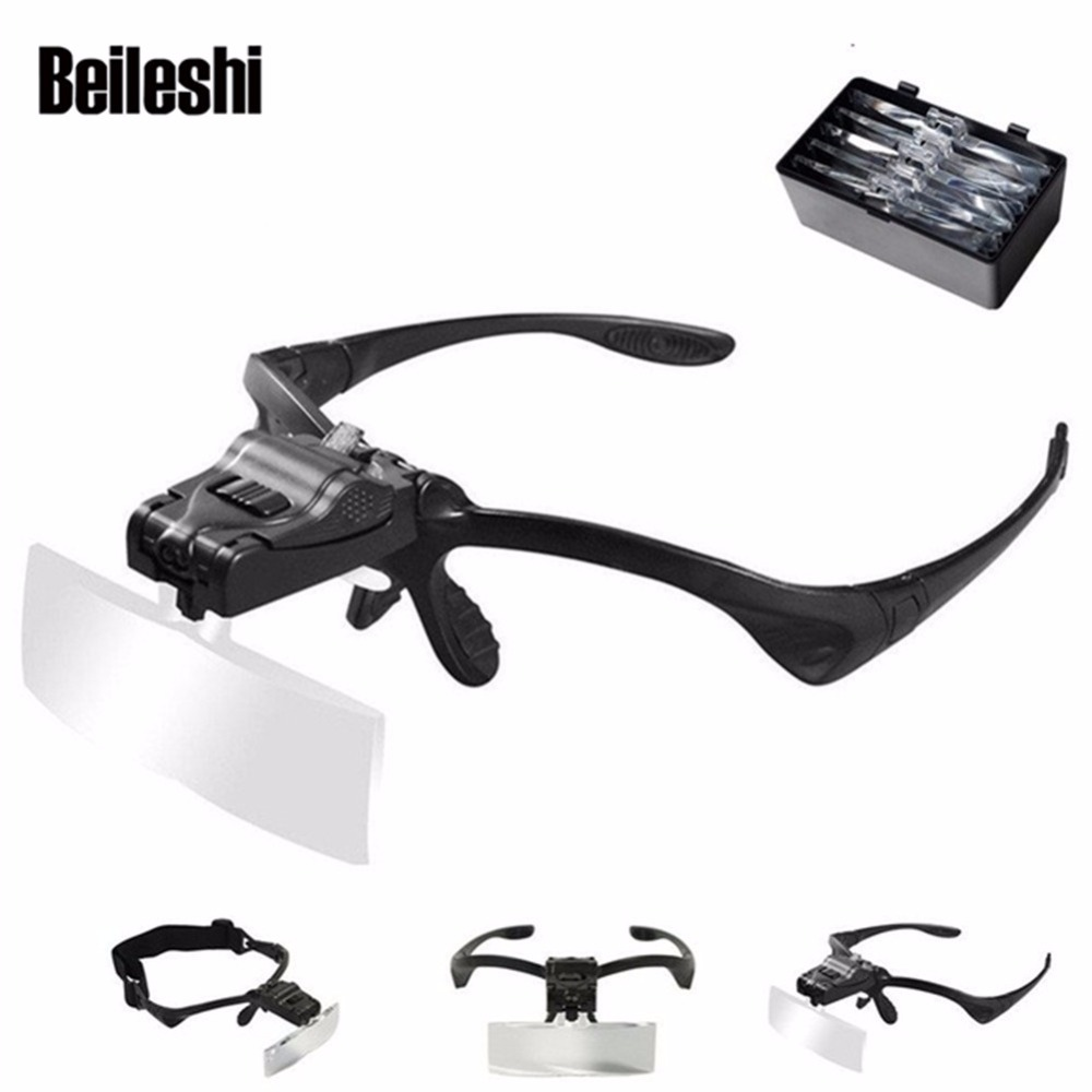 Beileshi Wearing Magnifying Glass Repair Magnifier LED Light Tools 5 Lens/set Magnification Lupa Optical Lens 9892B For Reading
