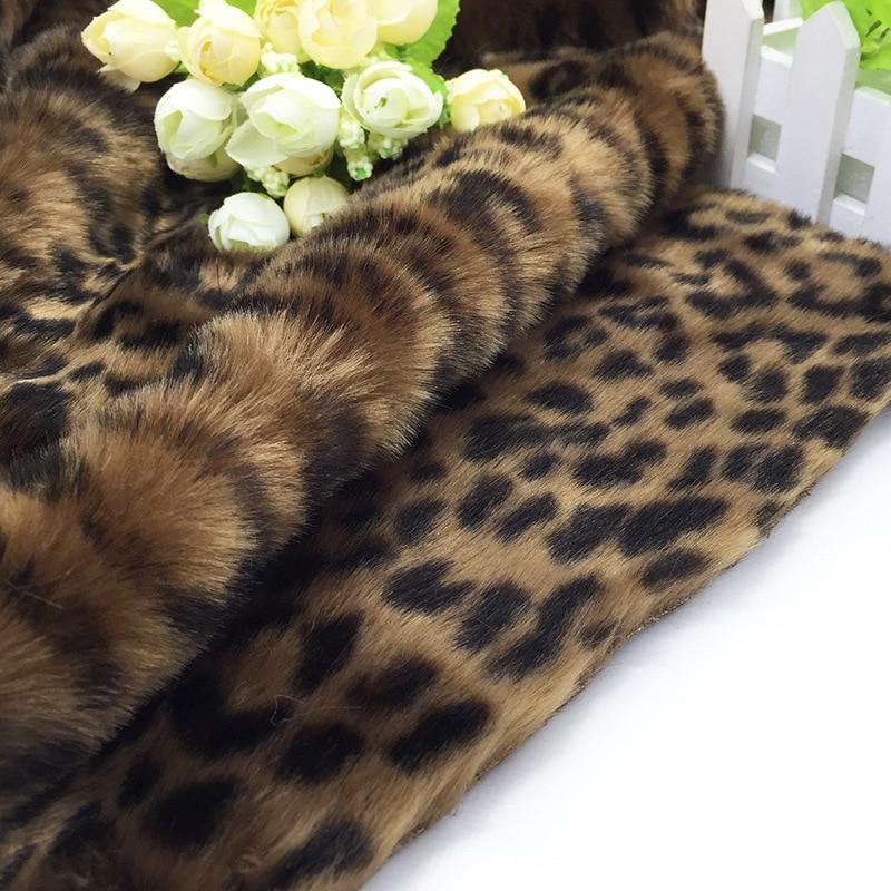 Rabbit fur printed fabric leopard print autumn and winter coat shawl fabrics 530gsm