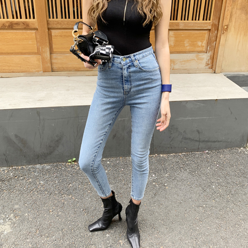 All-match Women Denim   Jeans   Basic Skinny Fit High Waist Female Stretchable Pencil   Jeans   2019 Chic Women Trousers