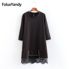 Embroidered Flares Casual Dress Long Sleeve Women O-neck Lace Patchwork Loose Autumn Dress Plus Size 5XL Black KKFY2634 все цены