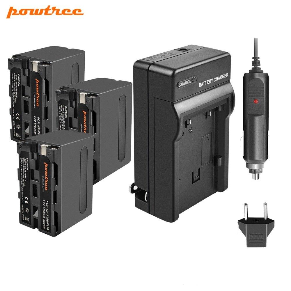 Powtree Pour Sony 3 pièces 7.2 V 8700 mAh NP-F960 NP F960 NPF960 Batterie + Chargeur Pour NP F950 F970 F750 F770 CCD-RV100 DCR-TRU47E