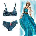 B C D sutiã 70 75 80 85 primavera das Mulheres sexy lace bordado sutiã respirável ultra-fino plus size conjunto de roupa interior calcinha